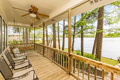Large covered porch with view to lake