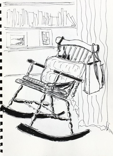 Rocking chair in my study. Ink and texta sketch. #athome #uskathome #dailysketch