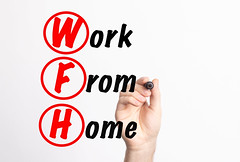 WFH - Work From Home acronym with marker, concept background