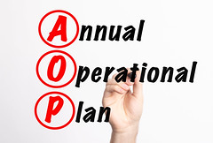 AOP - Annual Operational Plan acronym with marker, concept background