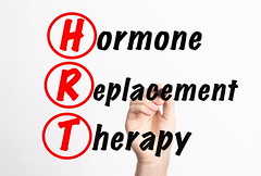 HRT - Hormone Replacement Therapy acronym with marker, concept background