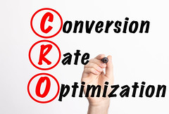 CRO - Conversion Rate Optimization acronym with marker, concept background