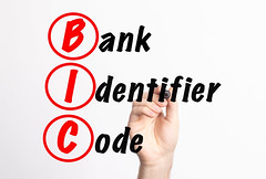 BIC - Bank Identifier Code acronym with marker, concept background