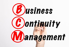 BCM - Business Continuity Management acronym with marker, concept background