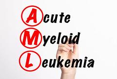 AML - Acute Myeloid Leukemia acronym with marker, concept background