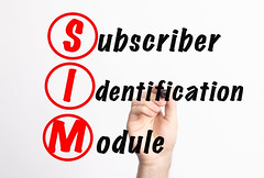 SIM - Subscriber Identification Module acronym with marker, concept background