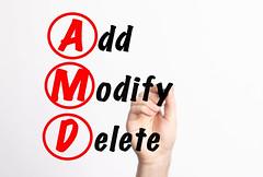 AMD - Add Modify Delete acronym with marker, concept background