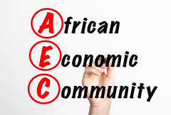 AEC - African Economic Community acronym with marker, concept background