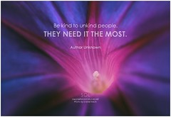 Author Unknown Be kind to unkind people. They need it the most
