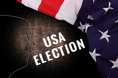 Trump Silhouette with American Flag and USA Election text
