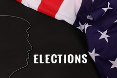 Trump Silhouette with American Flag and Elections text