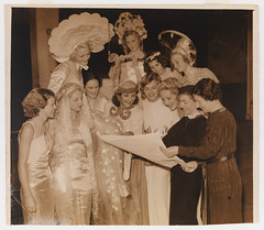 Designer Thelma Afford with women in costumes for Sydney Sesqui-centenary 'March to Nationhood' Pageant