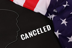 Trump Silhouette with American Flag and Canceled text