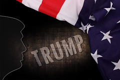Trump Silhouette with American Flag and Trump text