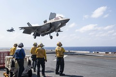 F-35B Lightning II fighter aircraft land on the flight deck of USS America (LHA 6).