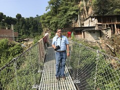 Directly behind the shacks distilling the local moonshine is this suspension pedestrian bridge across the Narayani river