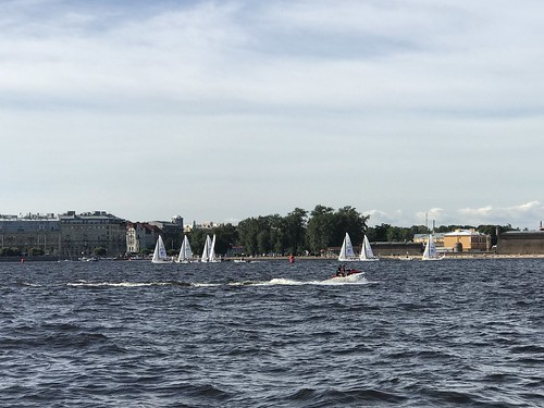 Sail Boats in the Neva River - St. Petersburg. Russia