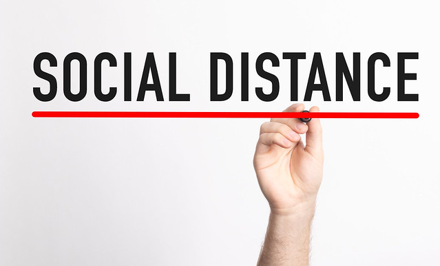 Social Distance text with marker, concept background