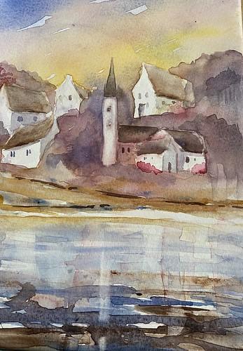 Deux versions d'aquarelles d'un même paysage (village de Morgat en Bretagne,Crozon)