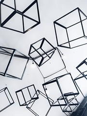 Gray metal cubes decorative - Credit to https://homegets.com/