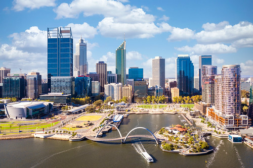 Top view of perth city and harbour