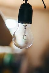 Lightbulb hanging in garage