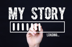 Handwriting Text My Story Loading. Concept meaning  Forecasting the future event