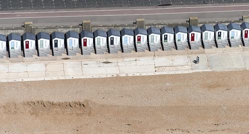 Seaford beach huts aerial image
