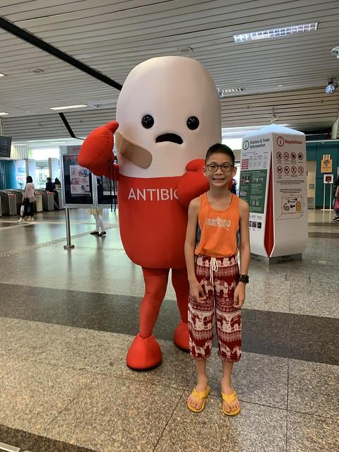 Antibiotics mascot at AMK Station