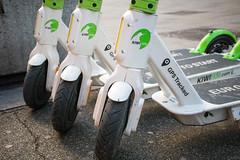 Close-up of Kiwi Ride e-scooters