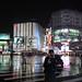 architecture on a rainy night