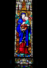 Geelong. Yarra St. One of many stunning stained glass  windows in St Mary's Catholic Basilica. Work began in 1854 and the Basilica was finally completed in 1937.