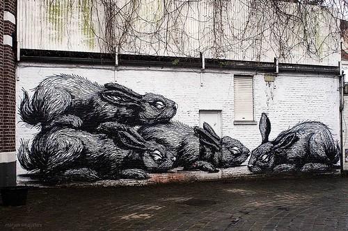 Graffiti (Roa), Street Art Ghent, Belgium