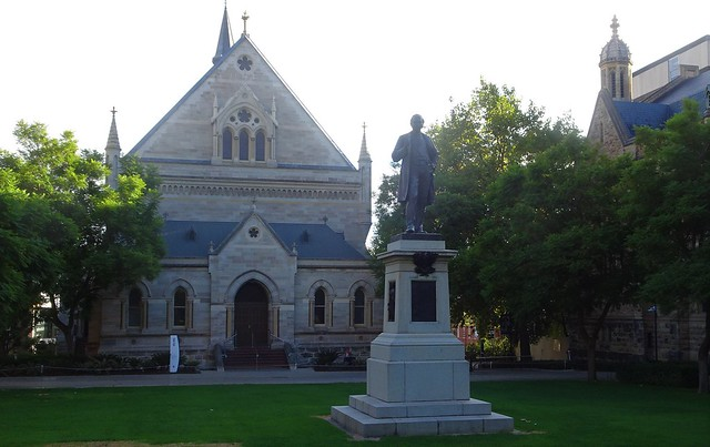 Photo:Adelaide. North Terrace. Elder Hall and the statue of Sir Thomas Elder in front as he donated the money for it. Grounds of the University of Adelaide. By denisbin
