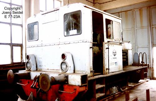 DE-08352 Raschau (Erzgebirge) Kartonagen Schwarzenberg GmbH Diesellok Deutz A4M420 36871/1941 im April 1991