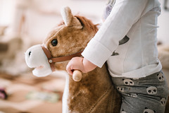 Little girl playing with his toy horse.