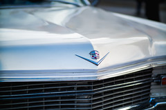 Close-up of the sign on a third gen Cadillac Deville oldtimer