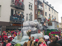 Carnival parade fine particles motto at Cologne Carnival Rosenmontag 2019, Germany