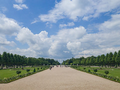 Alley to the Arion fountain in the Schwetzingen Palace Garden in Germany