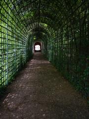"""Ende der Welt"" Sinnestäuschung im Schlossgarten Schwetzingen, Deutschland"