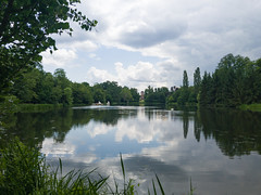 Lake Weiher with a view to the mosque in the Schwetzingen Palace Garden, Germany