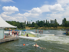 Water skiing lake in Langenfeld, Germany
