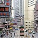 Hong Kong 1982: Tramway Car 107, dwarfed by its surroundings in Johnston Road, Wan Chai