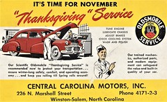 1942 Oldsmobile Thanksgiving Service Postcard