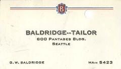 G.W. Baldridge business card, circa 1936