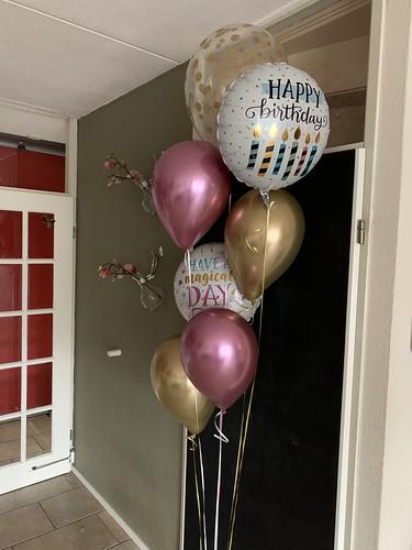 Ballonboeket Verjaardag Chrome Mauve en Goud