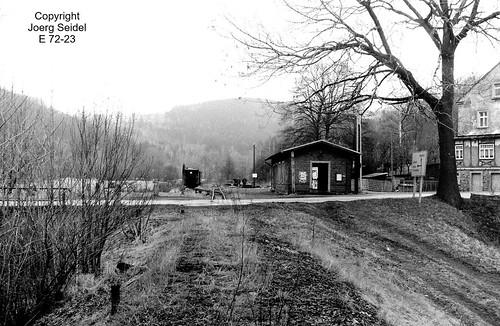 DE-09518 Großrückerswalde Bahnhof Deutsche Reichsbahn/Preßnitztalbahn im April 1991