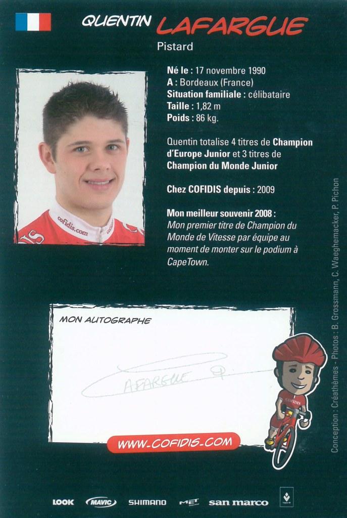 Lafargue Quentin - Cofidis, Le Credit en Ligne 2009 retro