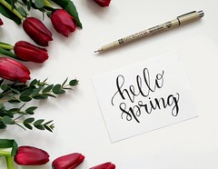 Hello spring handwritten paper - Credit to https://homegets.com/