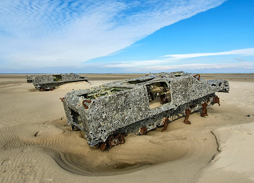 Heavily damaged targets for excercising air force, Vliehors, Vlieland, Netherlands